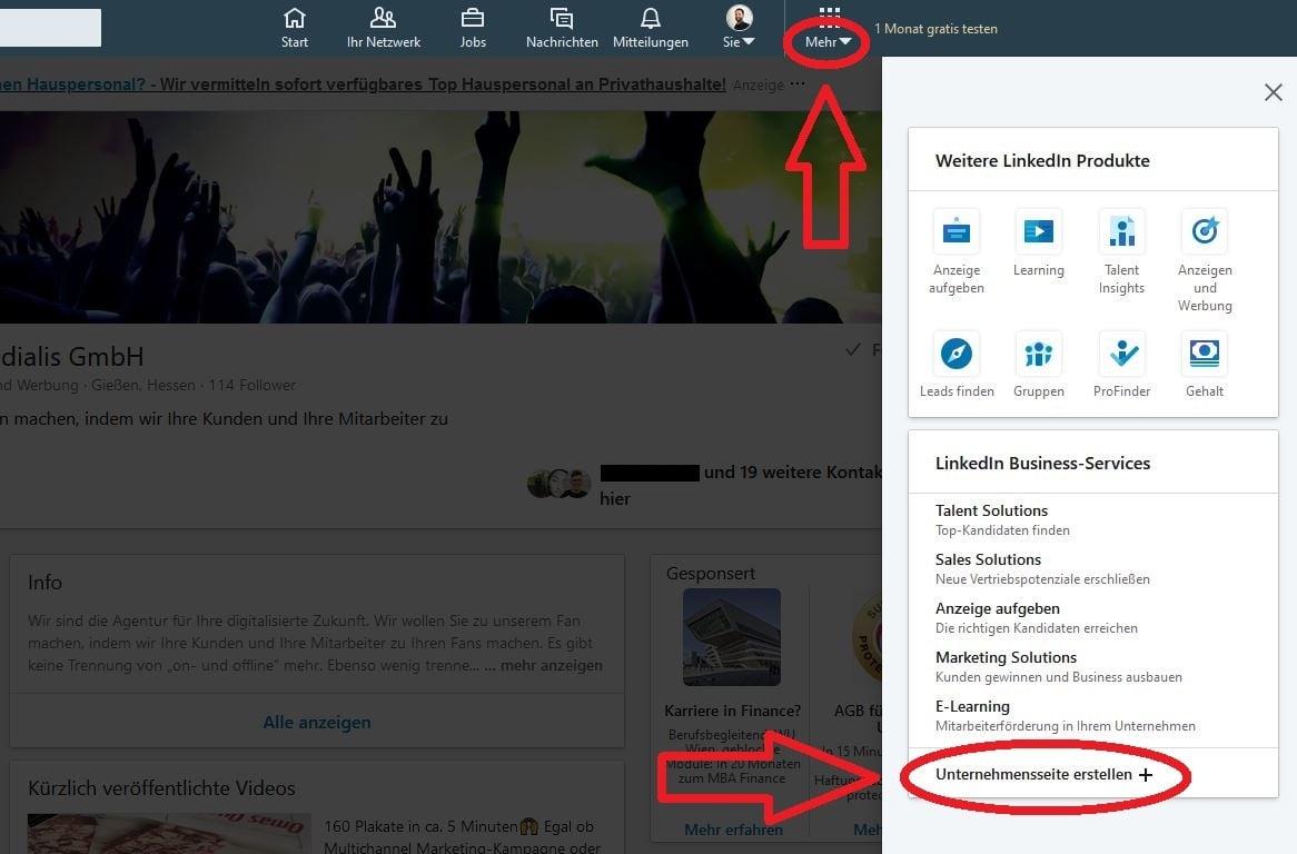 LinkedIn Unternehmensseite erstellen