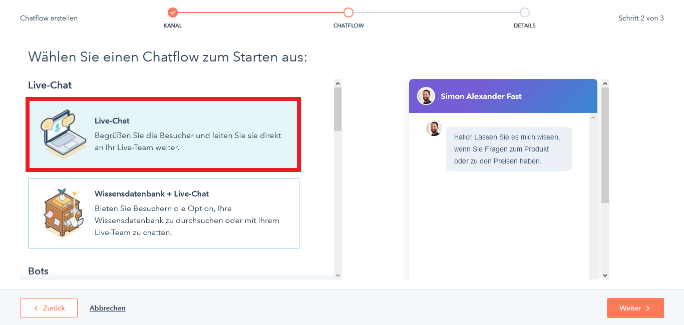 HubSpot Live Chat Chatflow