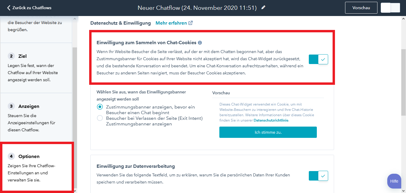HubSpot Live Chat Chatflow Optionen