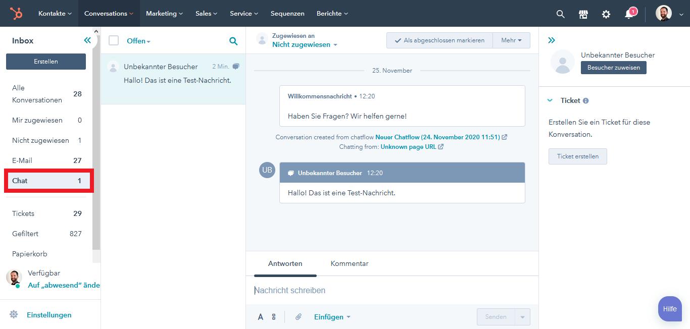 HubSpot Live Chat Conversations Postfach