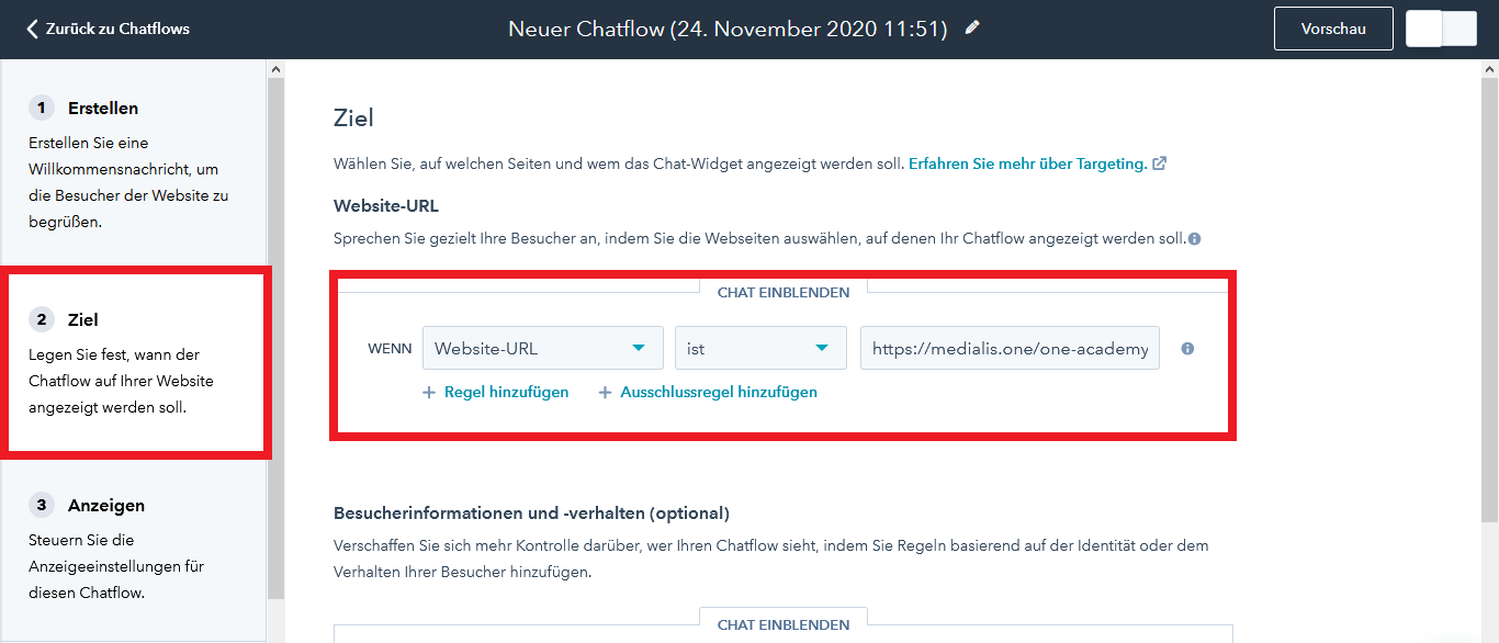 HubSpot Live Chat Chatflow Ziel