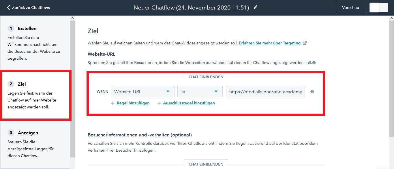 HubSpot Live Chat Chatflow Ziel