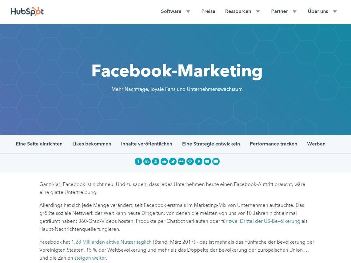 HubSpot Pillar Page Facebook Marketing