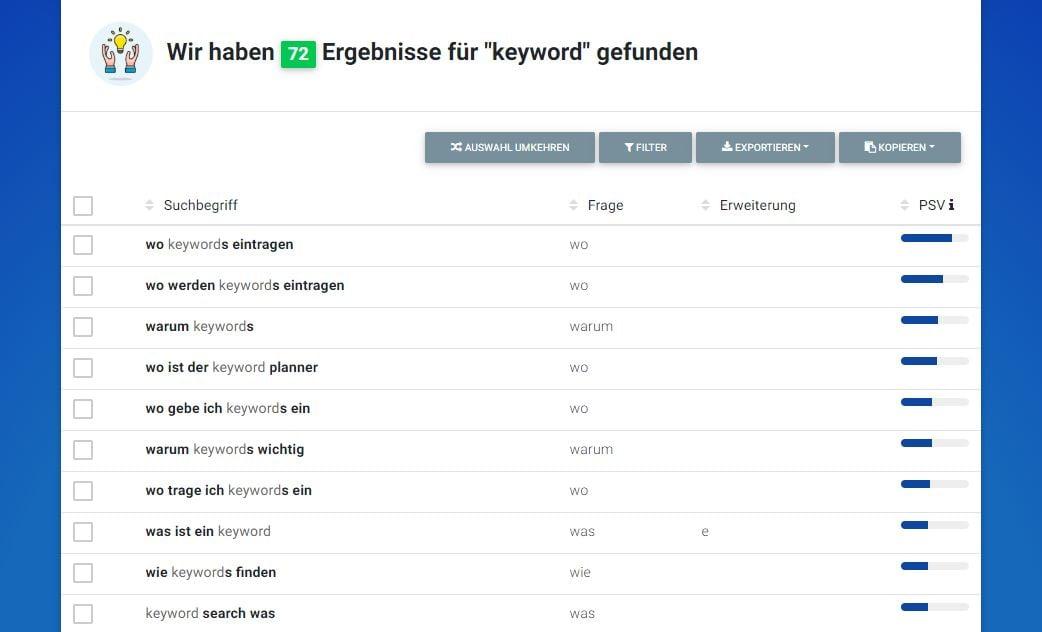 """Hypersuggest W-Fragen zum Begriff """"Keyword"""""""