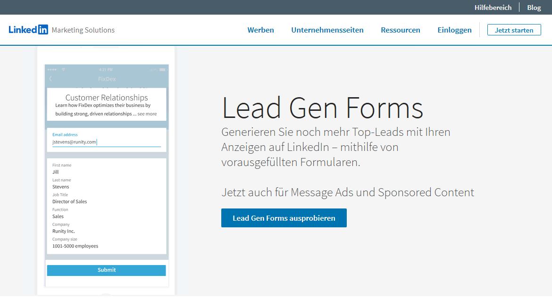 social media leads linkedin lead gen forms