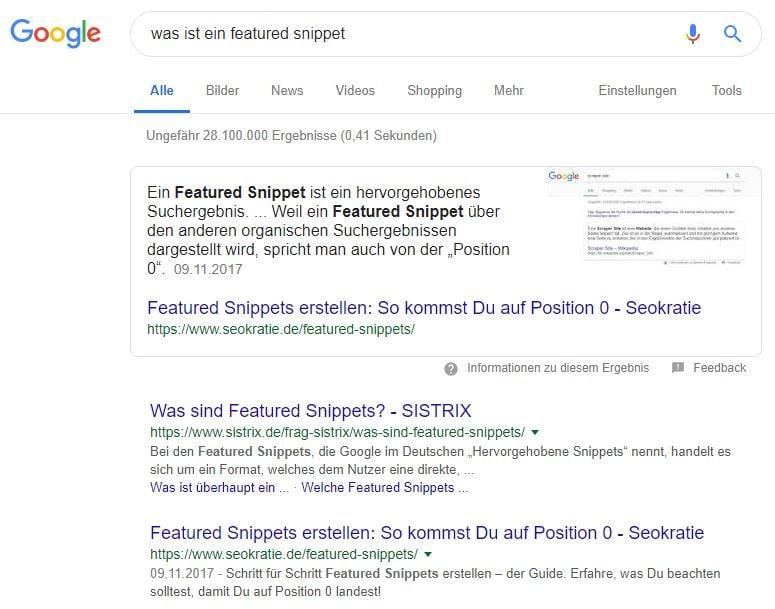 Ausschnitt eines Featured Snippet bei Google